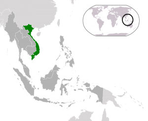 The long 'S' shaped outline of Viet Nam comprises the eastern most edge of the Southeast Asian peninsula.
