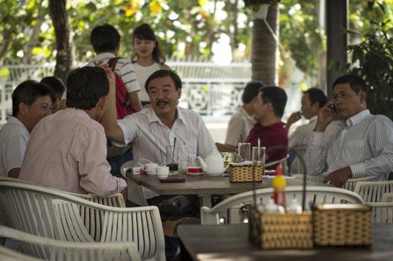 Friends gather in a local café.