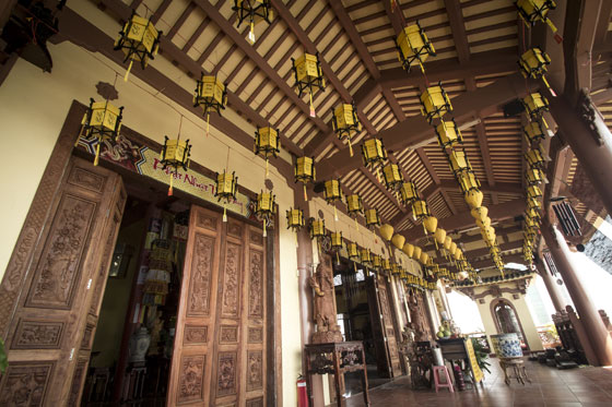 Lanterns in the entry way of the Buddhist temple.