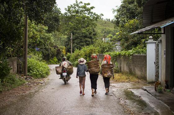 Lao Lu women walk to the fields to begin work.